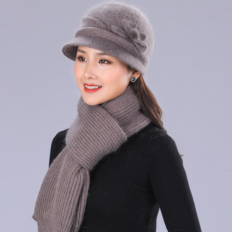 SUOGRY Women's Brand Winter Hat Sets Floral Mixed Yarn Rabbit Skies Animal Fur Outdoor Warm Knitted Hats Caps Baggy Headwear Cap
