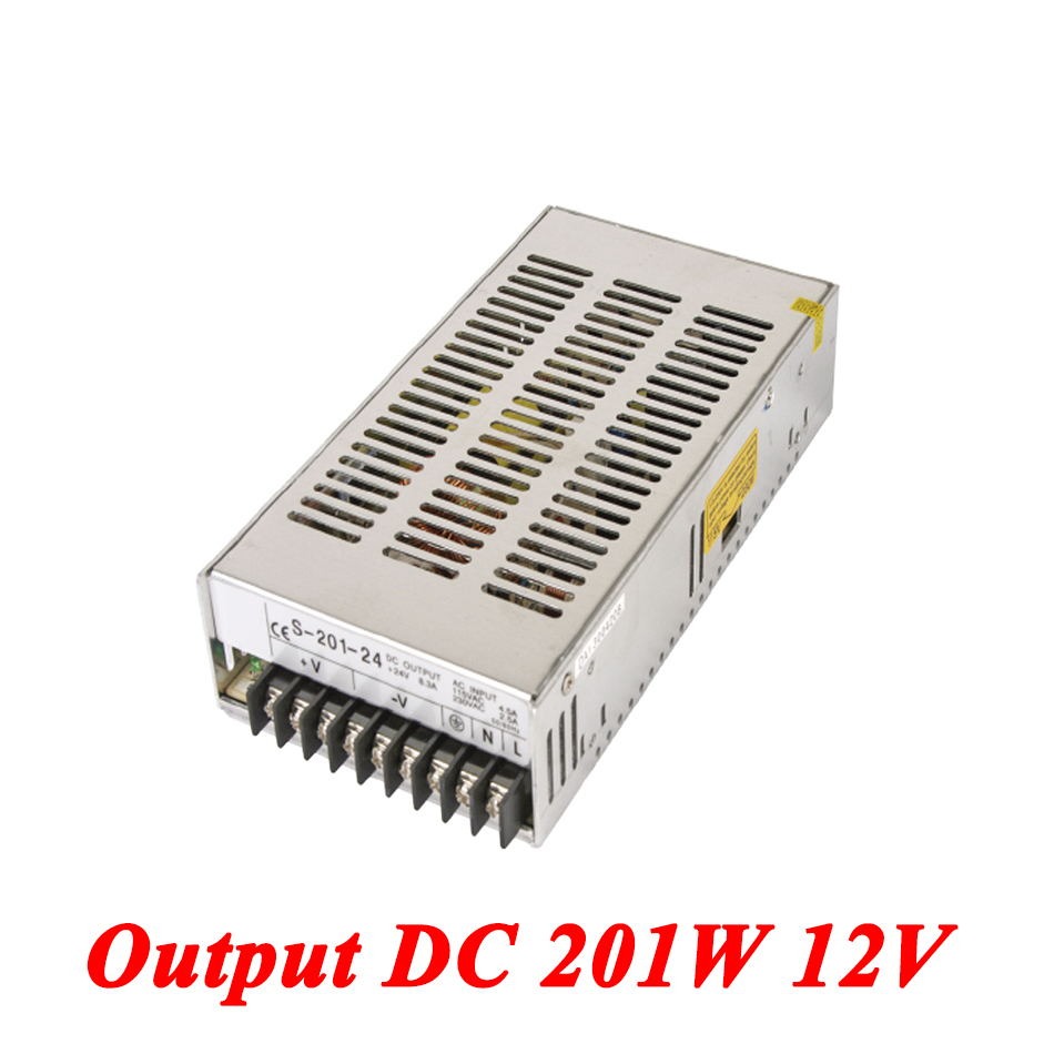S-201-12 201W 12v 26.5A Single Output smps switching power supply for Led Strip,AC110V/220V Transformer to DC 12V,led driver s 100 12 100w 12v 8 5a single output ac dc switching power supply for led strip ac110v 220v transformer to dc led driver smps