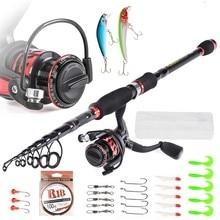 Battlesea Telescopic Fishing Rod Spinning Reel PE Line Hook Lure Box As Gift Full Kit Combo Set