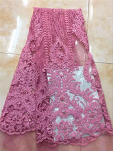 High Quality African Lace Fabric With Gold Sequins Tissu Indian Wedding Dress Fabric French beads Mesh Tulle Lace Material pink(China)