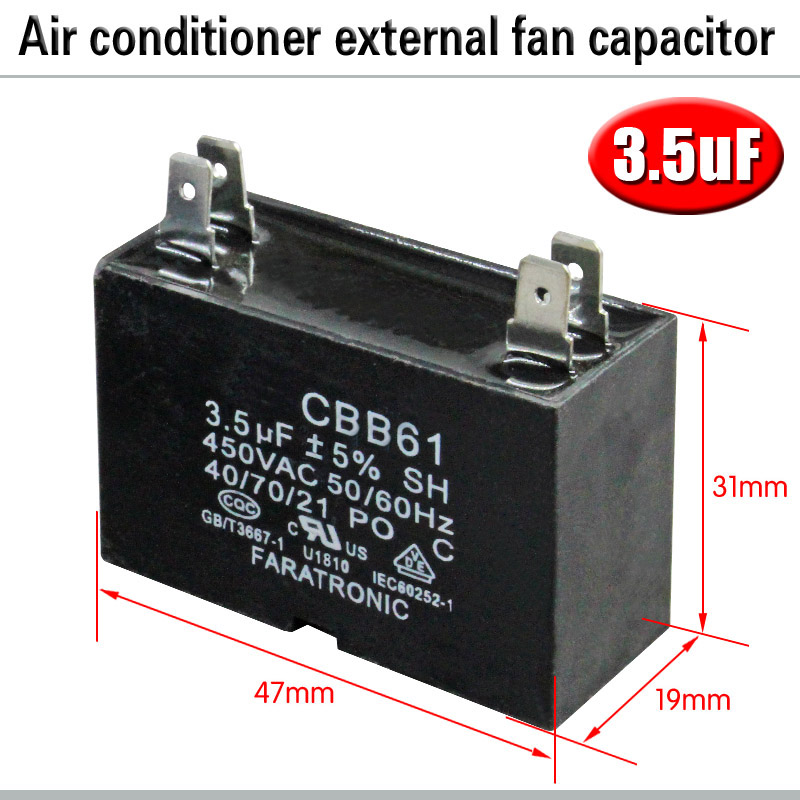 CBB61 кондиционер наружный вентилятор стартовый конденсатор с алюминиевой крышкой, 1,5/2/2,5/3/3,5/4/5/6/8 мкФ 450 вольтным и конденсатор с алюминиевой крышкой 4 вставки электромагнитный пускатель - Цвет: 3.5uF