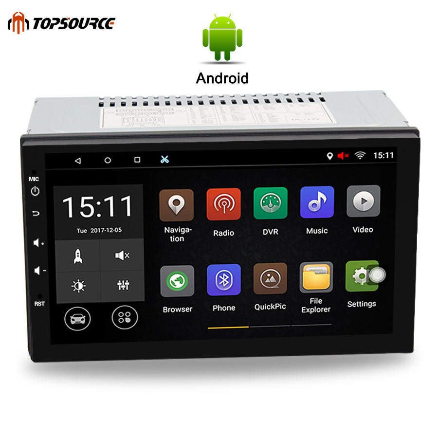TOPSOURCE Universel 7 2 din Voiture Lecteur DVD Rds Autoradio GPS Navigation WIFI Bluetooth Android Quad Core 1G/16G 1024*600