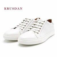 KRUSDAN Повседневное белый Мужская обувь ручной работы из натуральной кожи Туфли без каблуков тапочки на шнуровке вулканизируют свадебные туф