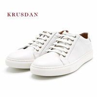 KRUSDAN Casual White Men Shoes Handmade Genuine Leather Flats Slipper Lace Up Vulcanize Wedding Shoes Men Breathable Sneakers