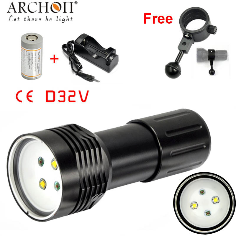 100% Original ARCHON D32V W38V UPDATE D32VR W38VR Diving Light Flashlight Torch Underwater photographing 1400 lumen battery ch 100% original archon d37vp update d36vr w42vr u2 uv multifunction underwater photographing sea diving flashlight video light