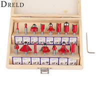 DRELD 15pcs Milling Cutter Router Bit Set 1 2 Inch 12 7mm Shank Carbide Wood Cutter