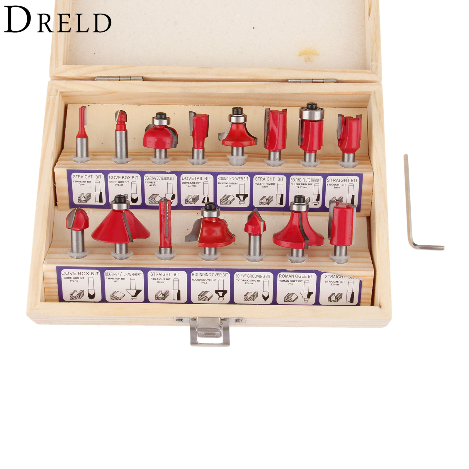 DRELD 15pcs Milling Cutter Router Bit Set 1/2 Inch (12.7mm) Shank Carbide Wood Cutter Engraving Cutting Woodworking Tools 1 2 inch shank hss milling cutters round nose cove core box router bit for woodworking milling tools