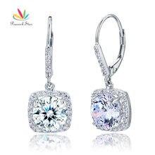 Павлин звезда 2,5 карат круглые серьги Твердые 925 пробы серебряные свадебные Висячие ювелирные изделия CFE8122