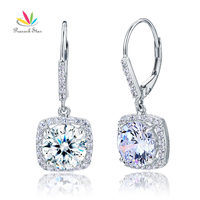 Wholesale 2 5 Carat Round Cut Created Diamond Solid 925 Sterling Silver Bridal Wedding Dangle Earrings