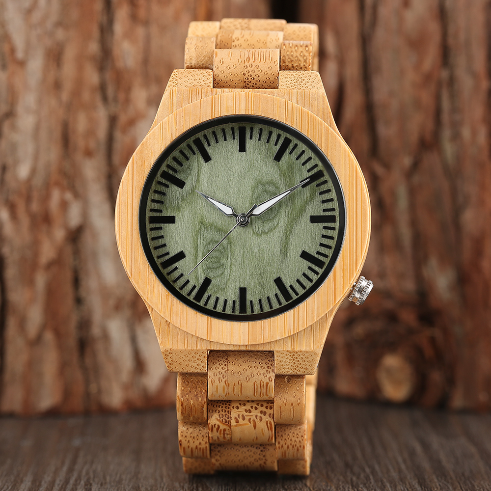Green Face Creative Full Bamboo Wood Watches Top Brand Luxury Men Watch with Japanese Quartz Movement for Gift relogio masculino new 100% handmade head deer elk dial design mens bamboo wood quartz watch with real leather strap for gift relogio masculino
