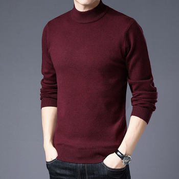 2020 Men's Cashmere Sweater Thickened Winter Half-neck Middle-aged Pullover Knitted Sweater Pure Color