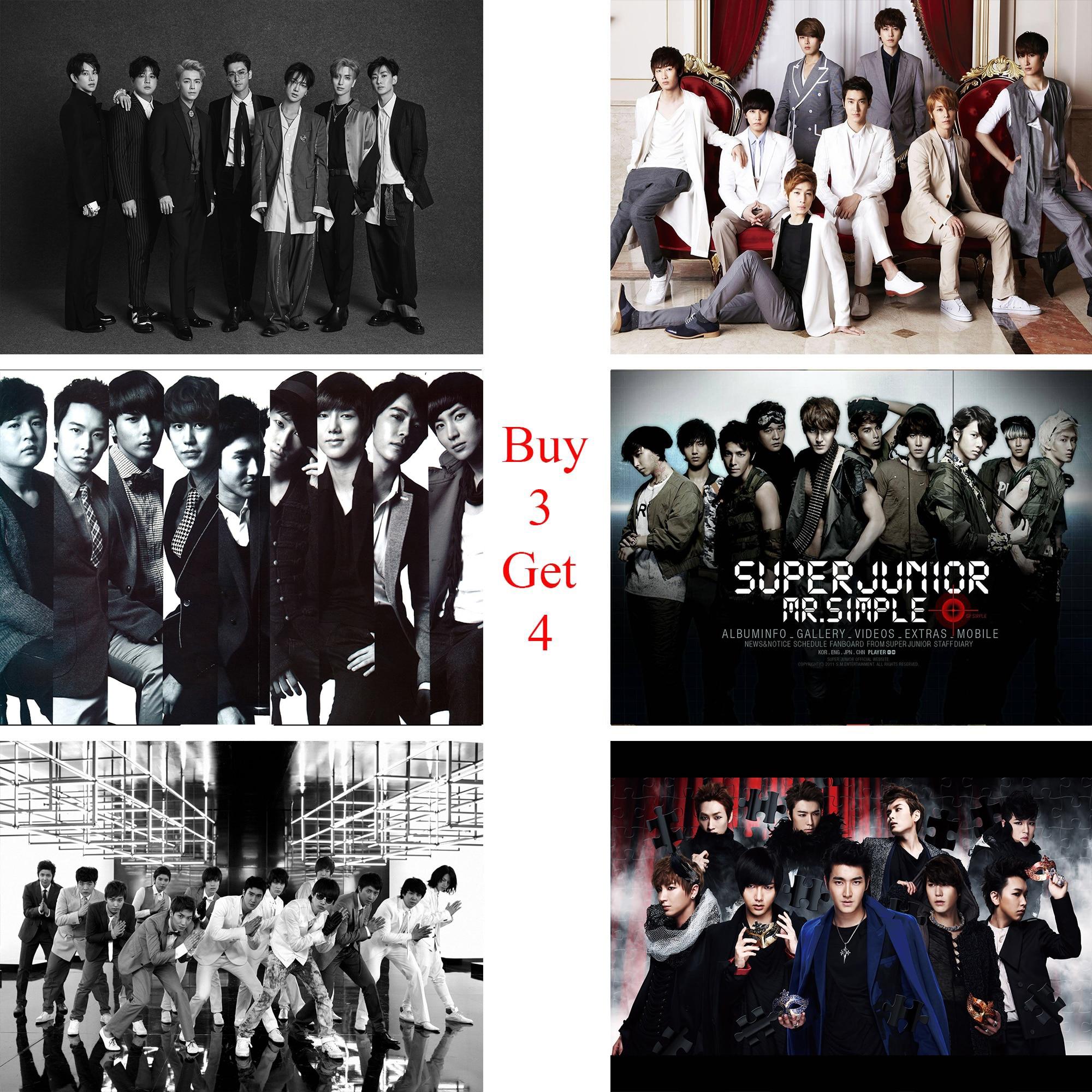Super Junior Плакаты K-POP музыка Наклейки на стену белым покрытием Бумага принты Clear Image украшения дома Книги по искусству бренд