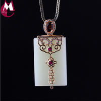 Natural Stone Rectangle 30mm*20mm White Jade Pendant With Garnet Luxury Gemstone Jewelry Rose Gold Flower Tassel Necklace SP88