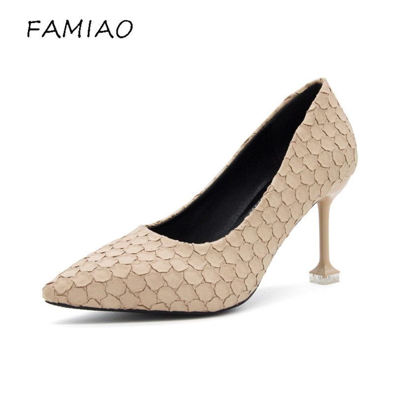 FAMIAO 2018 Spring Women Shoes NEW Fashion Snake Leather Wedding Shoes Sexy Pointed Toe Pumps Gold High Heels Party Shoes new spring summer women pumps fashion pointed toe high heels shoes woman party wedding ladies shoes leopard pu leather