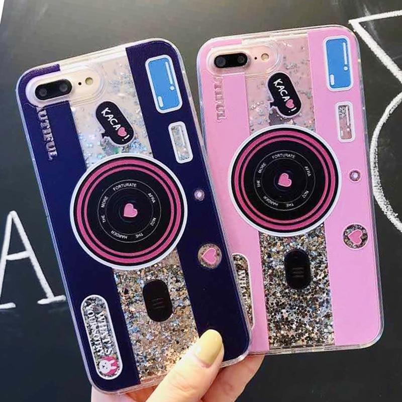 Cute Camera Dynamic Liquid Quicksand Glitter Phone Case For Xiaomi Mi 8 A2 6X A1 5X Mix 2S Redmi 5 plus Note 5 pro Cover Coque (1)