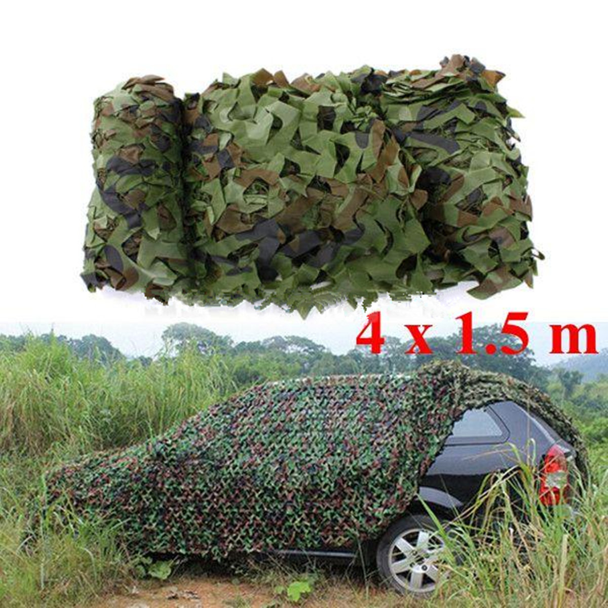 4x1.5m Outdoor Woodland Camo Net Military Camouflage Netting Mesh Games Hide Camouflage Net Hunting Camping Netting Cover 4x4m military camouflage camo net paintball outdoor woodlands leaves netting hunting camping holiday party decorations