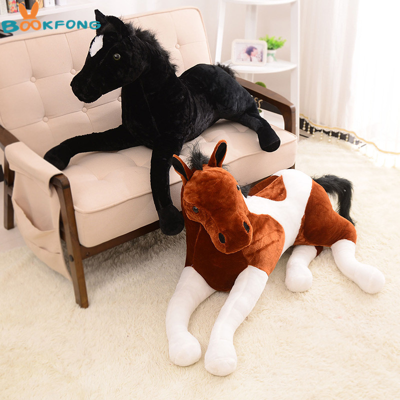 BOOKFONG 1PC Simulation Animal 70x40cm Horse Plush Toy Prone Horse Doll For Birthday Gift