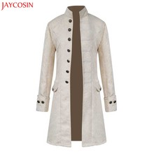 JAYCOSIN Men Long Sleeve Coat Winter Warm Vintage Tailcoat Black,White,Blue Jacket Overcoat Outwear Buttons Polyester Coat z1105(China)