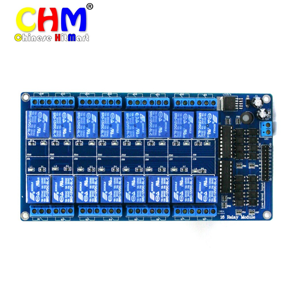 US $39 99 |16 channel 16 channel 12v relay module Interface Board For  arduino PIC ARM DSP PLC LM2576 2pcs/lot #J296-in Integrated Circuits from