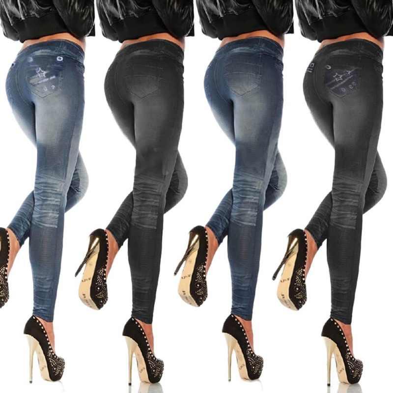 ใหม่แฟชั่น 2018 กางเกงขายาวผู้หญิงคลาสสิกยืดสลิมเซ็กซี่เลียนแบบกางเกงยีนผอมออกกำลังกายเลคกิ้งกางเกง Skinny W3