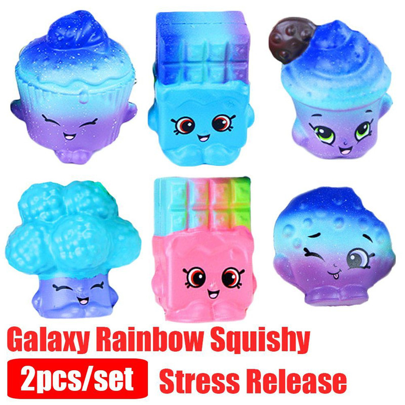 2pcs/Set Kawaii Squishy Shopki Jumbo Cake Squeeze Toys Slow Rising Galaxy Chocolate Rainbow Scented Super Soft Stress Release 10pcs slow rising soft squeezing charms stress release toy