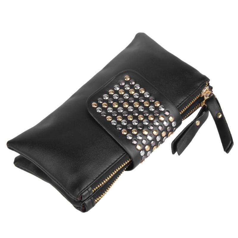 Luxury Rivet Women Handbags Wallets Purses 2019 PU Leather Long Zipper Black Bags Bolsa Feminina Punk Style Clutch Purses fenlu women s fashionable punk style artificial pearl rivet necklace white black