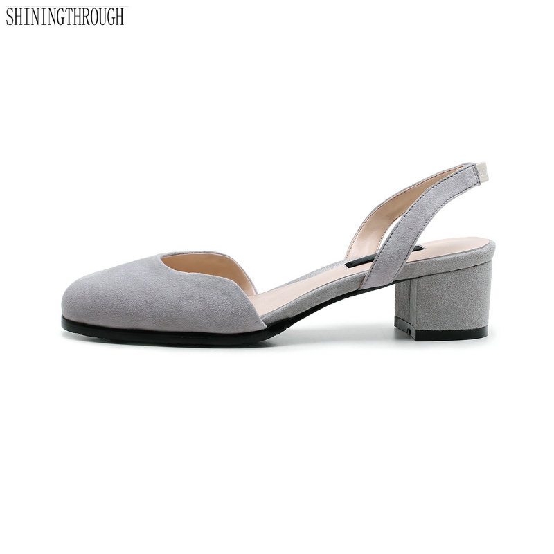 5cm med heels Women sandals genuine leather rouned toe Summer dress shoes woman slip-on ladies sandals gray black