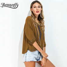 Benuynffy Lace Up Ethnic Embroidery Blouses Women 2017 Vintage Three Quarter Sleeve Casual Tops Female Boho Summer Blouse X593