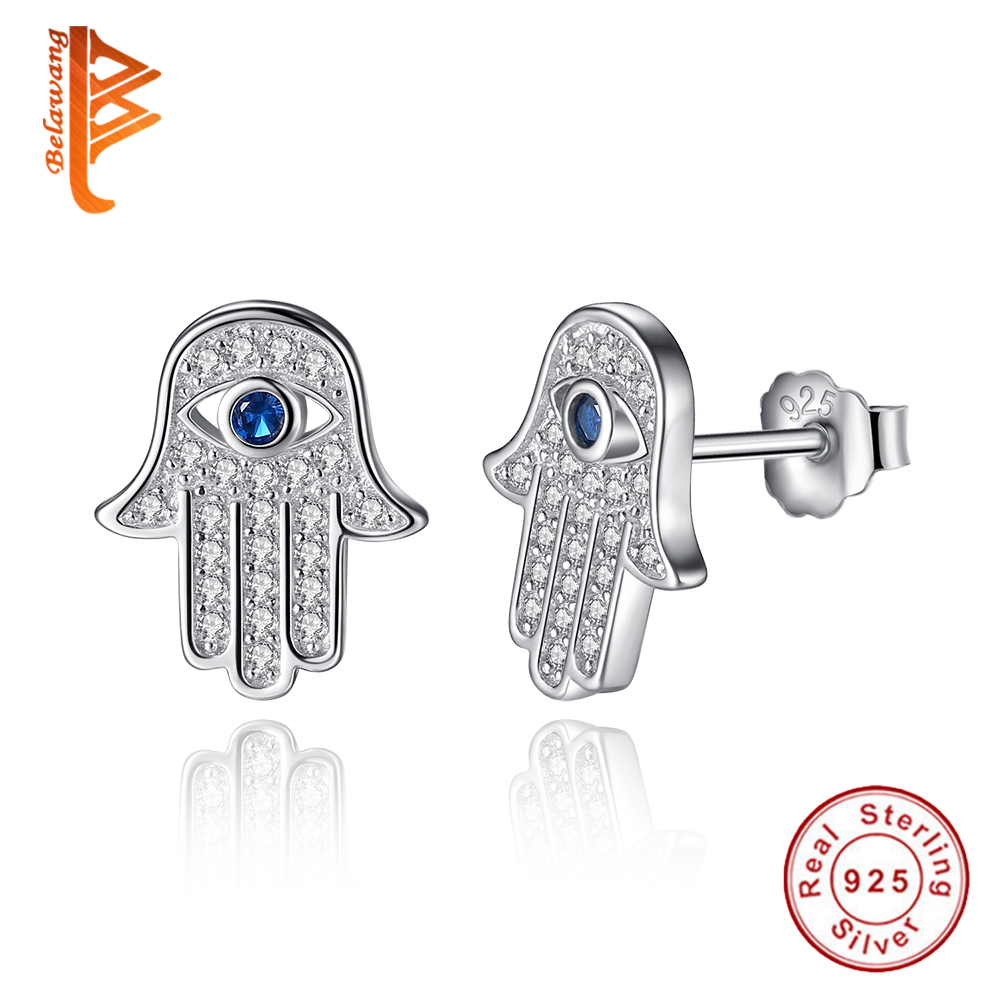Asli 925 Sterling Silver Blue Lucky Eye Hamsa Tangan Stud Earrings Untuk Wanita dengan Clear CZ Crystal Earrings Hadiah Perhiasan