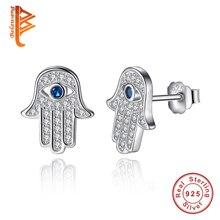Original 925 Sterling Silver Blue Lucky Eye Hamsa Hand Stud Earrings For Women with Clear CZ Crystal Earrings Jewelry Gift