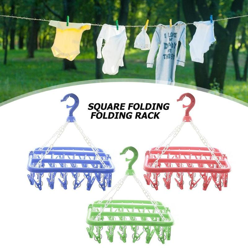 Folding Socks Cloth Hanger 32 Clips Multifunctional Rack Clothespin Clothes Drying Rack Sock Panties Storage Hanger