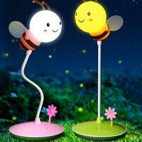 Moderno Bumble Bee Luz En Amarillo/Rosa Para Cualquier Niño O Niña Dormitorio oscurecimiento Toque Amarillo rosa luz de la noche decoraciones del partido