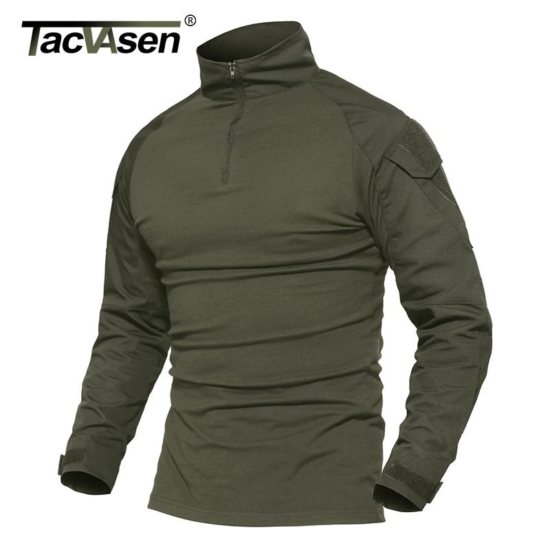 TACVASEN Men Camouflage Tactical T-shirts Army Green Combat T Shirt Men Long Sleeve Military T-Shirt Men's Hunt T-shirts Outwear