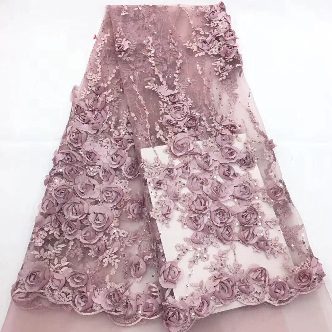 Purple Bridal Nigerian Wedding Lace Material 3D Lace Fabric High Quality Sequins African Lace Fabric On