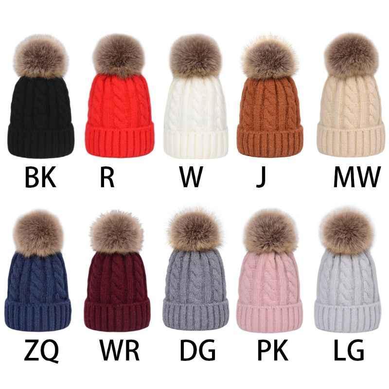 Детская зимняя утепленная плетеная вязаная шапка с манжетами, однотонная Съемная Пушистая Шапка-бини с помпоном, вязаная вязаный крючком шапка
