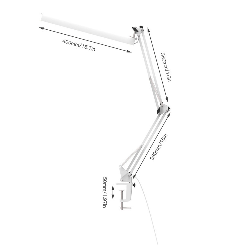 Image 4 - YOUKOYI Office Desk Clamp Lamp 3 Level Dimmer Adjustable Swing Arm Architect LED Table Lamp with USB Charge,Eye caring,White-in Desk Lamps from Lights & Lighting