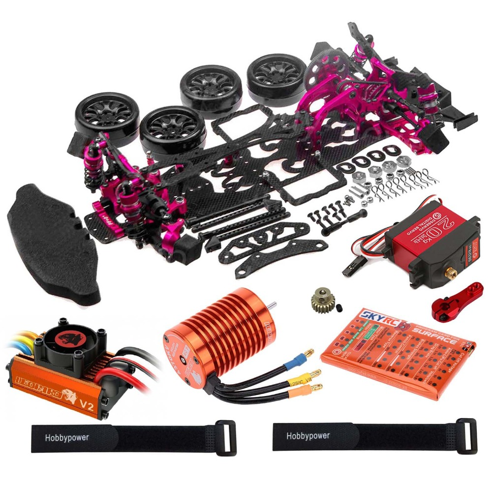 Alloy Carbon Drift Racing Chassis Kit Leopard 60A ESC 4730KV Motor DS3218MG Servo for 1 10