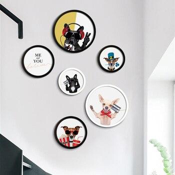 Modern Black Dog Pattern Wall Hanging Photo Frame Set 4 Styles Round Picture Frame Suit Corridor Hallway Decor Photo Frames