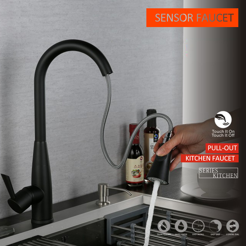 quyanre wanfan frap gappo matte black sensor kitchen faucet Pull Out Sensor Kitchen Faucet Sensitive Touch Control Faucet Mixer Touch Sensor Kitchen Tap2