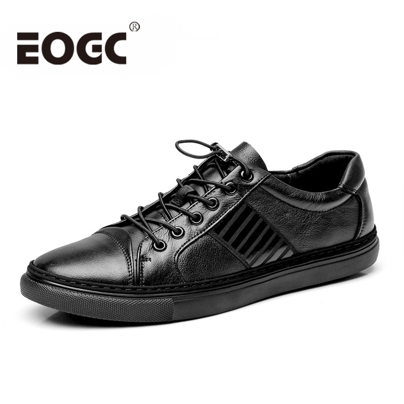 Fashion Men flats shoes for Men sneakers 2018 Genuine leather shoes men Soft leather casual shoes High quality Black shoes male ninyoo soft fashion men casual shoes genuine leather flats shoes black high quality breathable students shoes plus size 46 47 48
