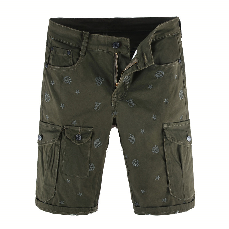 MORUANCLE New Fashion Mens Embroidered Cargo Short Jeans Casual Tactical Denim Shorts With Multi Pockets Work Pants Army Green