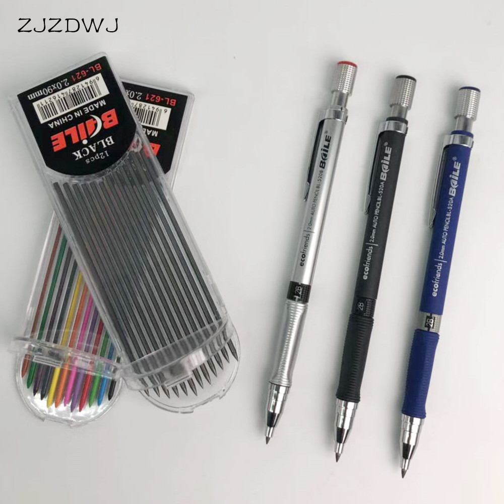 Mechanical Pencil 2.0mm 2B Drawing Writing Activity Pencil With12-color Refill Office School Stationery
