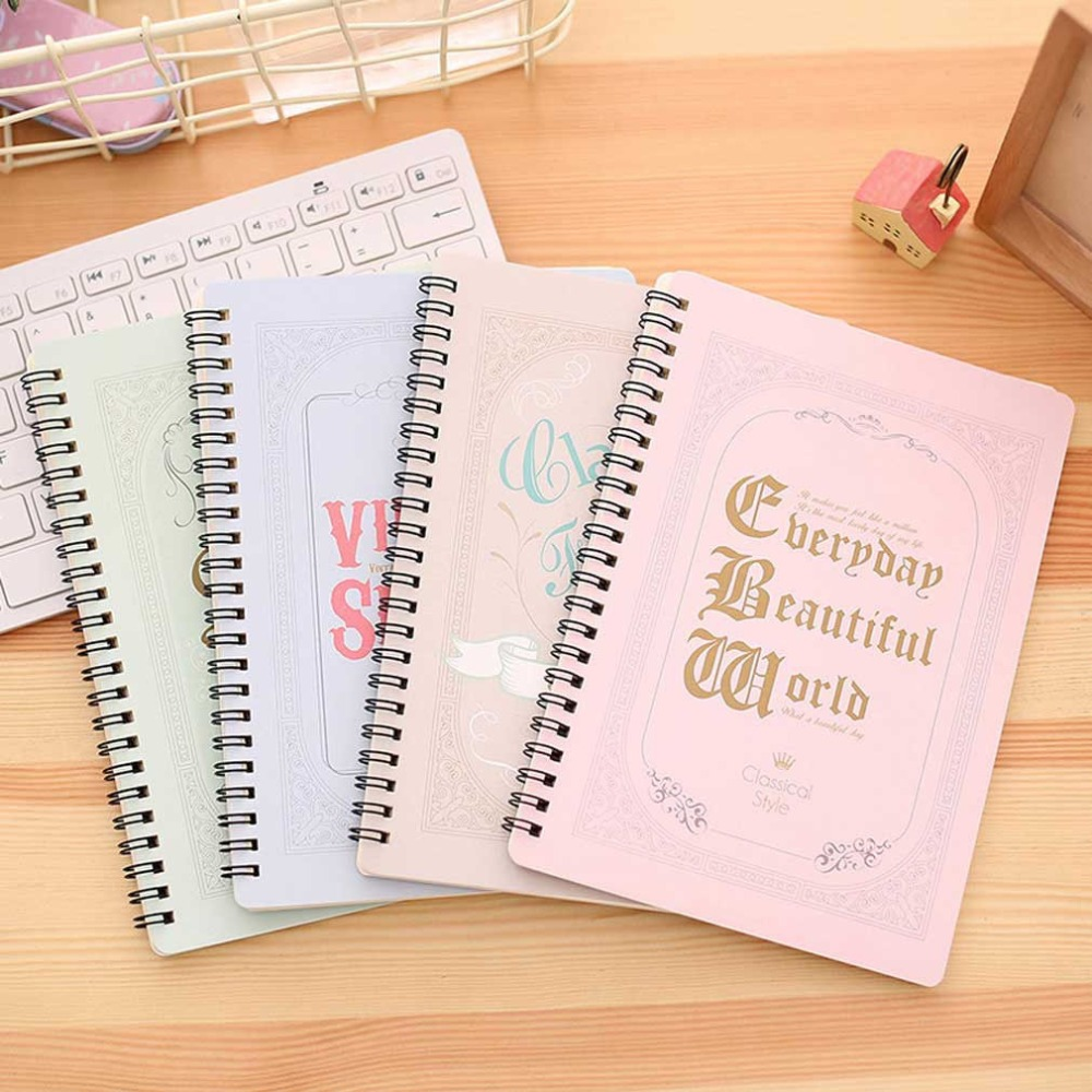 A5 Spiral Coil Notebook Diary Ruled School Vintage Student Note Book Memo Pad kikkerland lbm11 leuchtturm master ruled notebook 8 75 x 12 5 inch