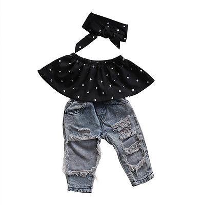 Fashion Toddler Kids Baby Girls Off Shoulder Clothing Summer Dot Crop Top +Hole Distressed Denim Pants 3pcs light pink halter off the shoulder crop top