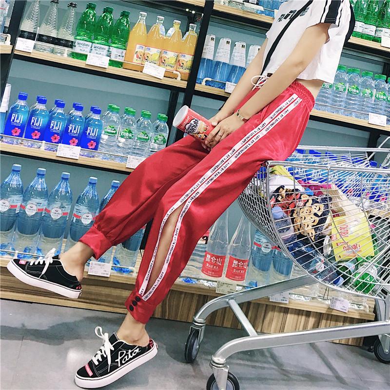 Hiphop purple sweatpants female hip hop Korean version of the tide student loose Dance pants 20