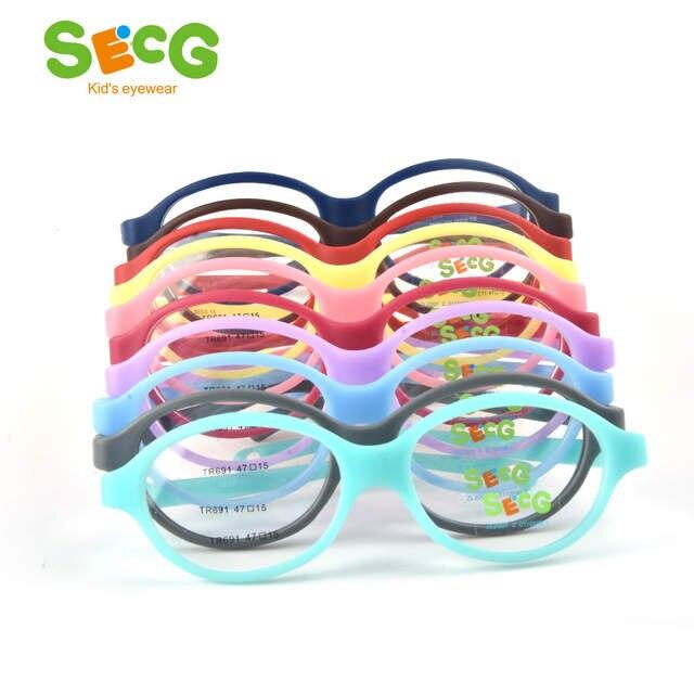 fbe120ab68d SECG Optical Myopia Oval Round Children Glasses Frame Plastic Glasses for Sight  Children Correction Soft Kids