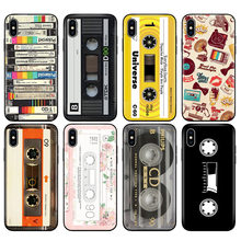 Black tpu case for iphone 5 5s se 6 6s 7 8 plus x 10 case silicone cover for iphone XR XS MAX case RETRO CLASSIC CASSETTE(China)
