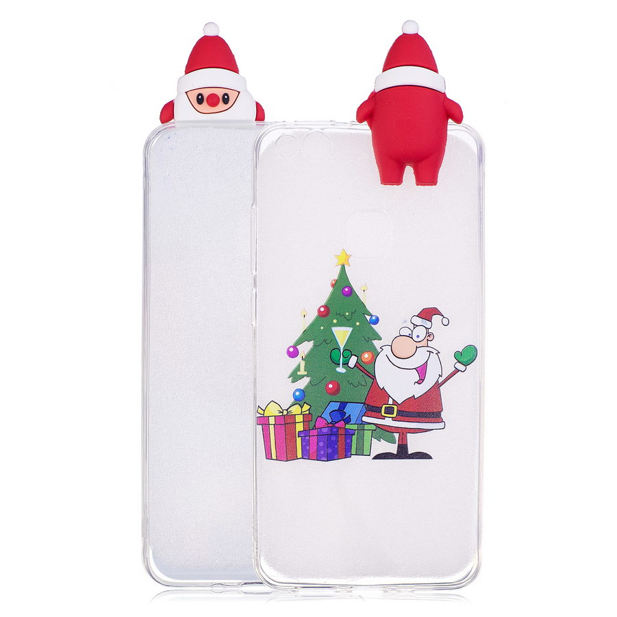 3D Christmas Tree Transparent Phone Case For Huawei P10 Lite Snowman Xmas Cases For Huawei P10 Lite TPU Silicone Cover