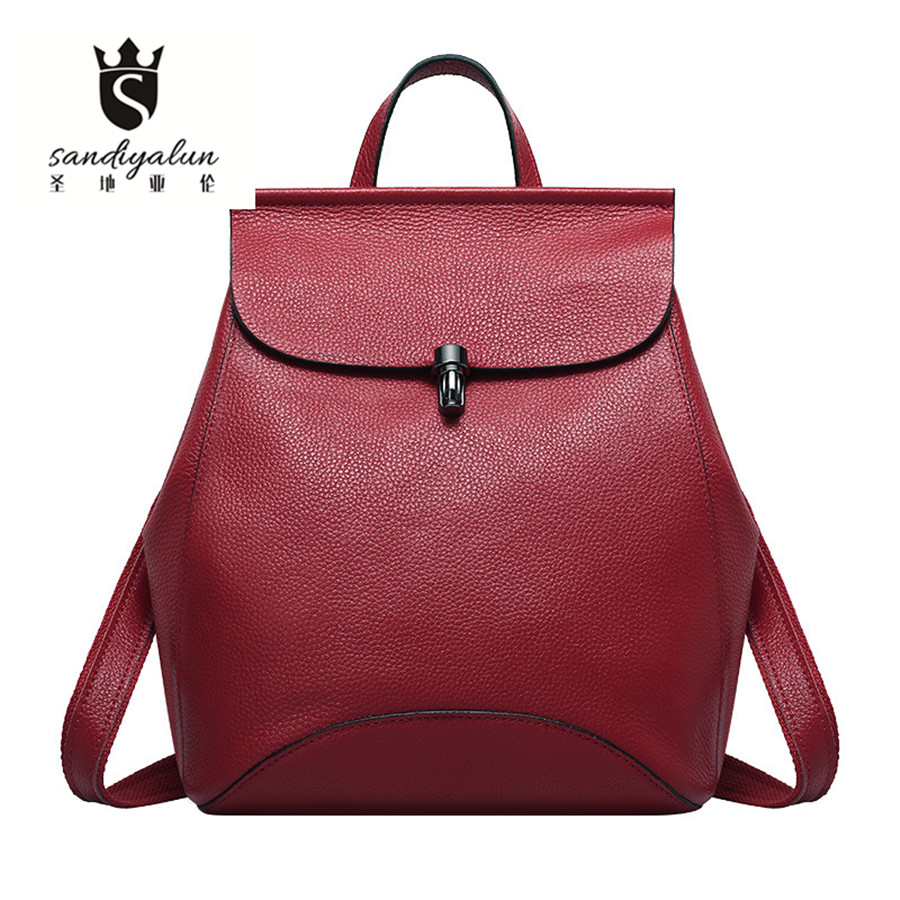 Fashion Women Backpack Genuine Leather Girls School Bags For Teenagers Top-handle Backpacks Travel Shoulde Bags evispo fashion designer cow genuine leather women backpack drawstring school bags for teenagers girls female travel back pack