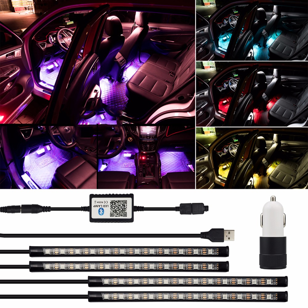 USB APP Control Car Interior RGB Light Decorative Lamp Atmosphere Light LED Strip for BMW E60 E90 E46 E36 E39 F30 X5 E53 E89 F10 kahane 2x car led flexible drl daytime running light turn signal light for bmw m e60 f10 x5 e53 e46 e39 e90 nissan qashqai juke